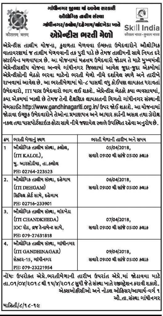 ITI Gandhinagar Apprentice Bharti Mela 2018