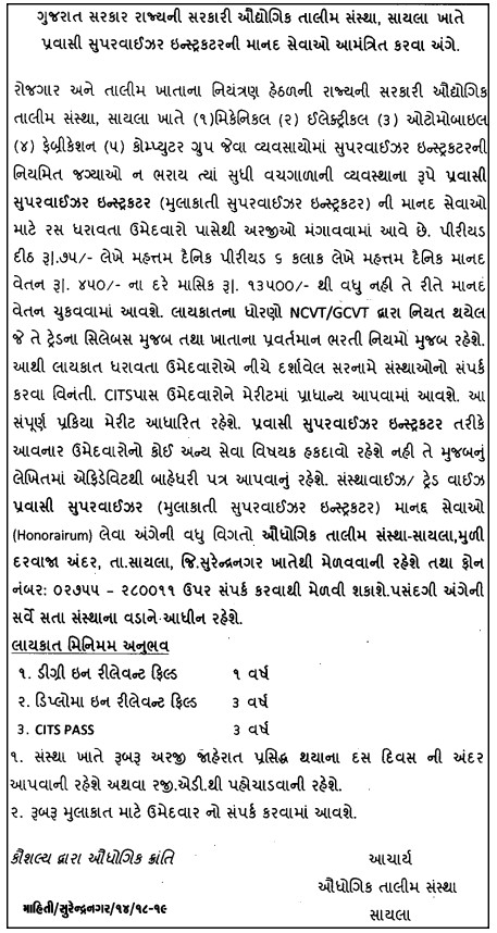 ITI Sayla Recruitment for Supervisor Instructor Posts 2018