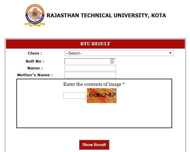 RTU B.Tech 1st Sem Result