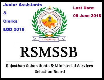 RSMSSB Junior Assistants and Clerks Recruitment 2018