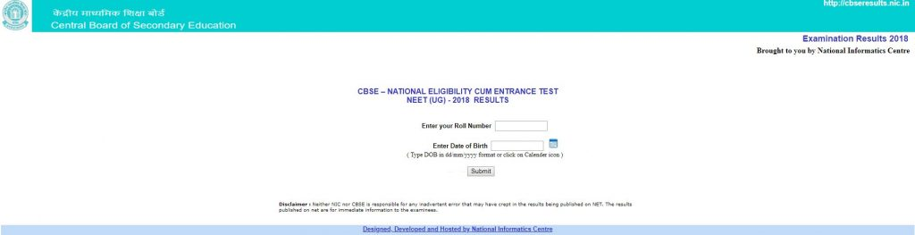 cbse neet result 2018