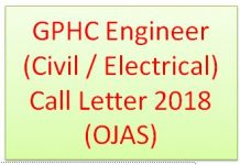 GPHC Engineer (Civil / Electrical) Call Letter 2018