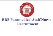 RRB Paramedical Staff Recruitment 2019