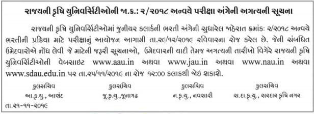 Gujarat Agricultural University Junior Clerk Exam Date