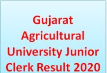 Gujarat Agricultural University Junior Clerk Result 2020